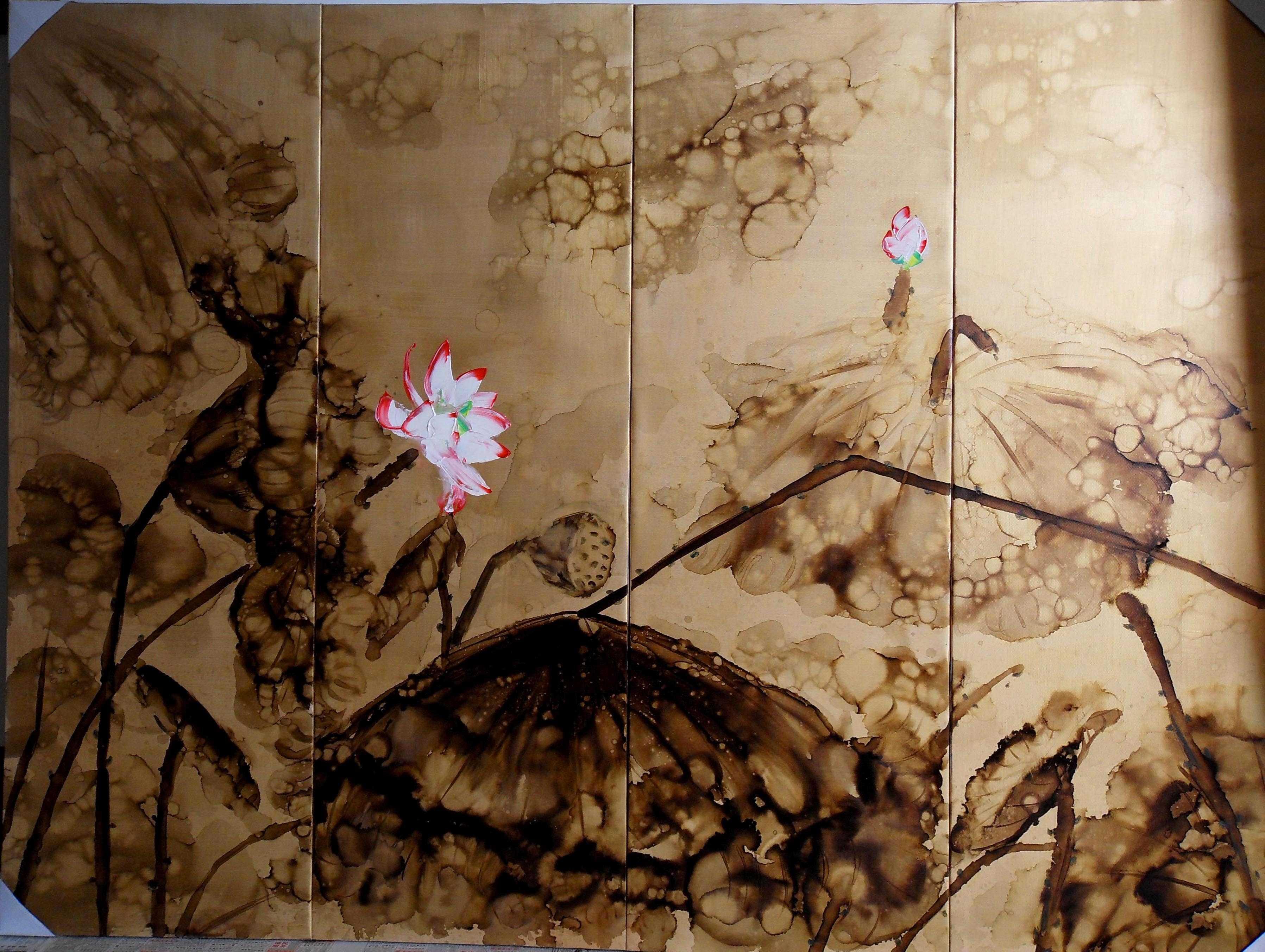 抽象;荷花; 飞跃手绘墙画艺术;; 写实荷花油画_荷韵_清晨荷包_荷气生